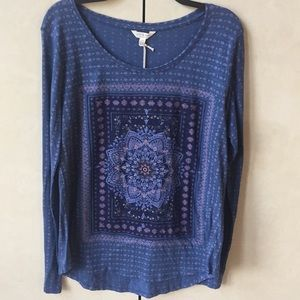 NWT Lucky Brand Tapestry Front Tee
